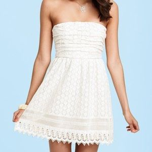 Delia's Ruched Crochet Strapless Dress, Size XS